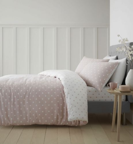 Catherine Lansfield Dotty Brushed Cotton Blush Bedding Set